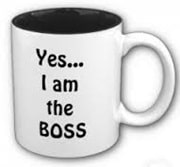 Yes I am the boss printed on the side of a coffee cup
