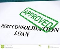 Debt consolidation loan with approved stamp on it