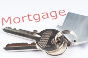 Picture titled mortgage on top of house keys