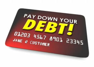 Pay Down Your Debt imprinted on a Credit Card in a 3d Illustration