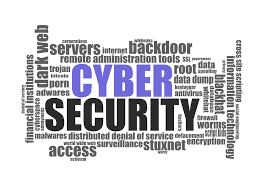 Word cloud with cyber security as the central word