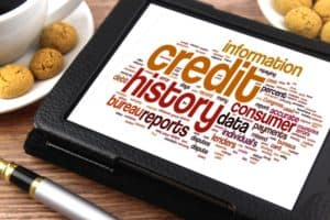 word cloud on an ipad screen with credit history as the central word