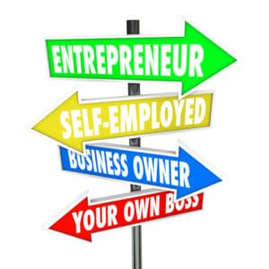 Entrepreneur, self-employed, business owner and your own boss words on road sign